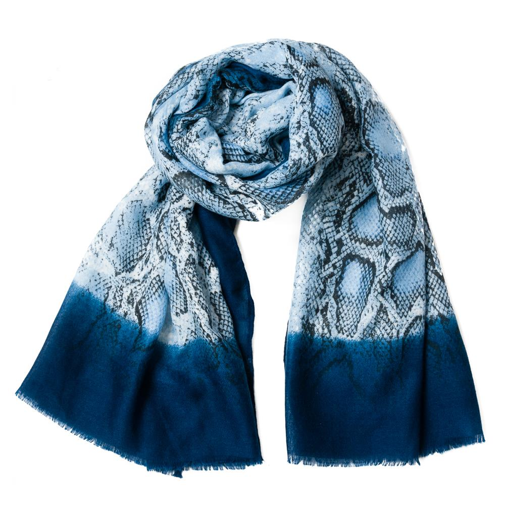Scarf , snakeprint blue