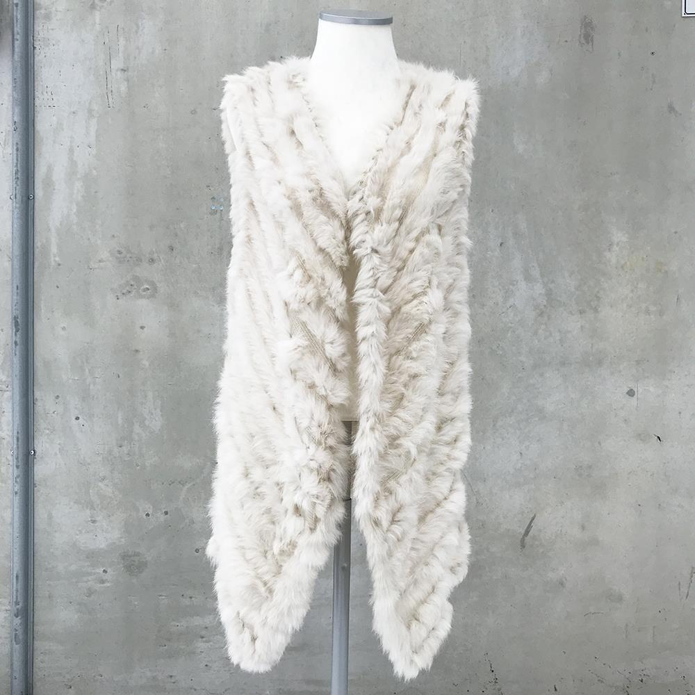 Scarf, fur west, long  creme
