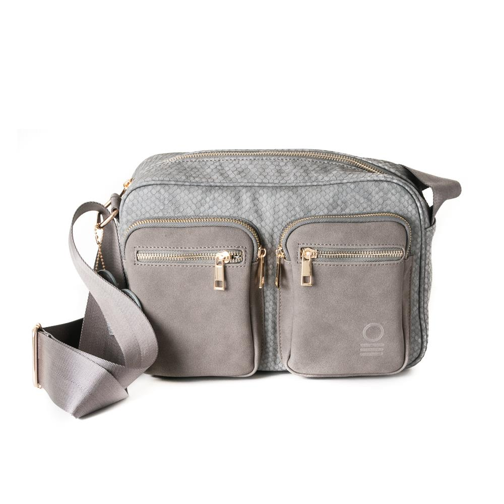 Bag, snake zipper cross grey