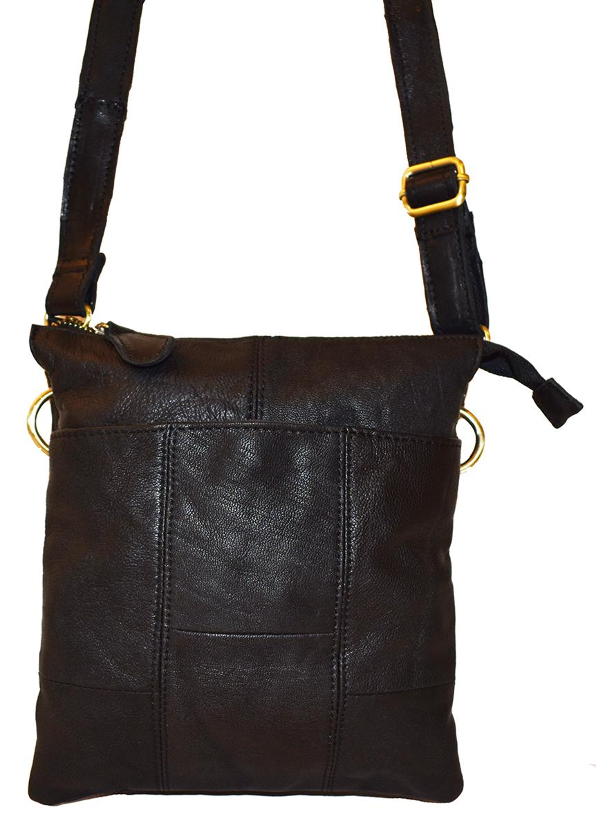 Bag, leather crossover with front pocket black