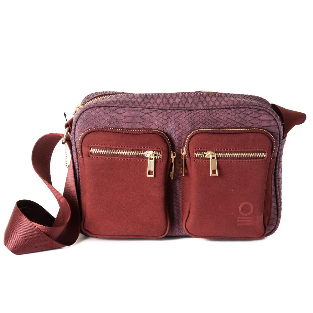 Bag, snake zipper cross bordeaux