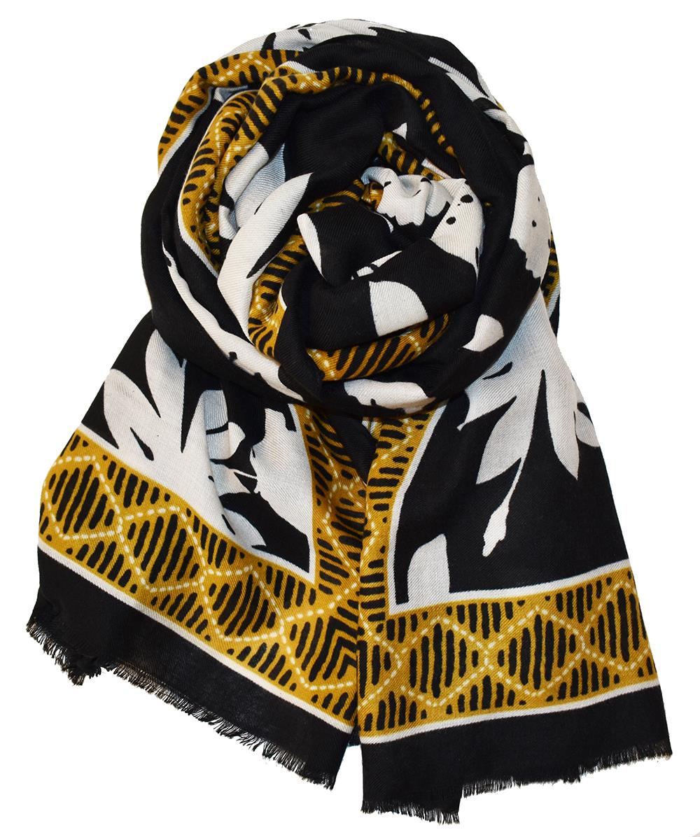 Scarf black/white w mustard edge