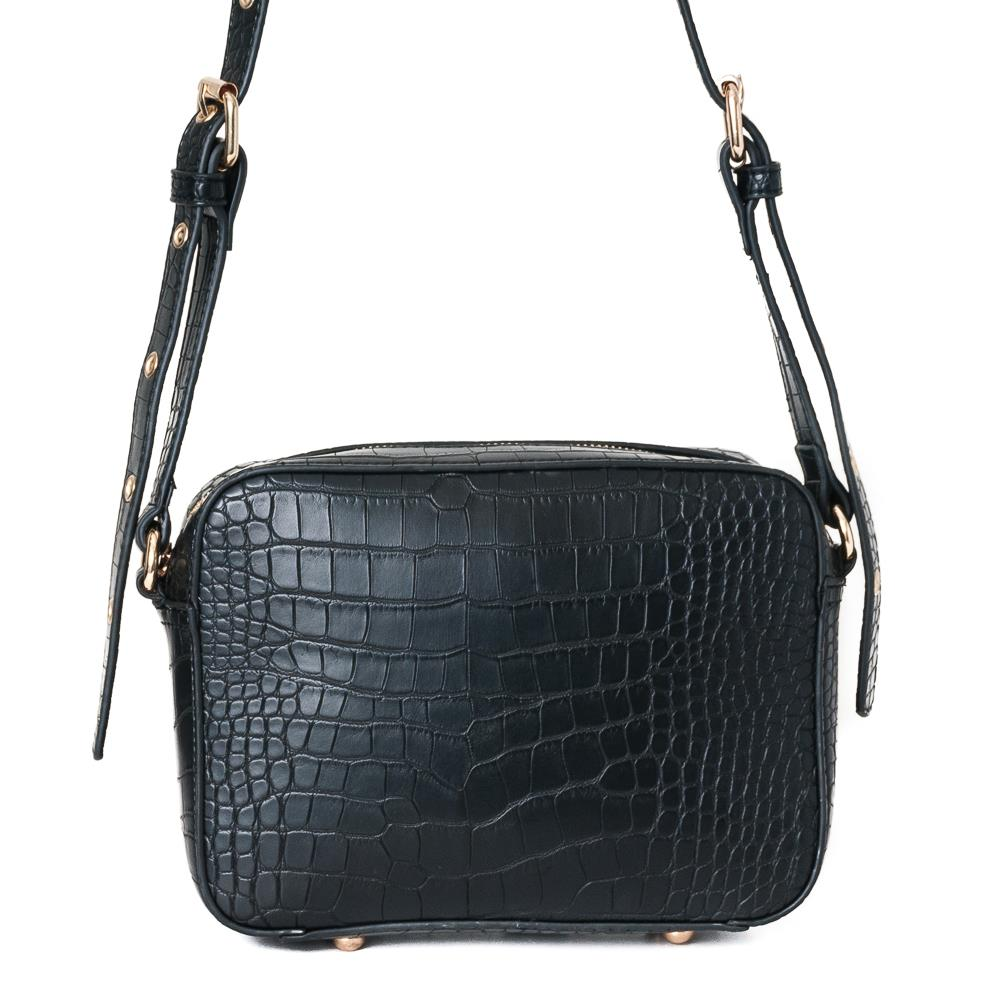 Bag, croco rivets handbag black