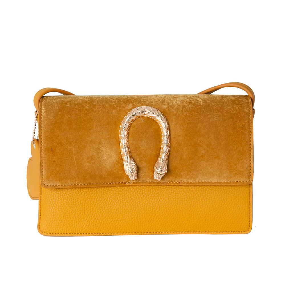 Bag, snake buckle clutch yellow