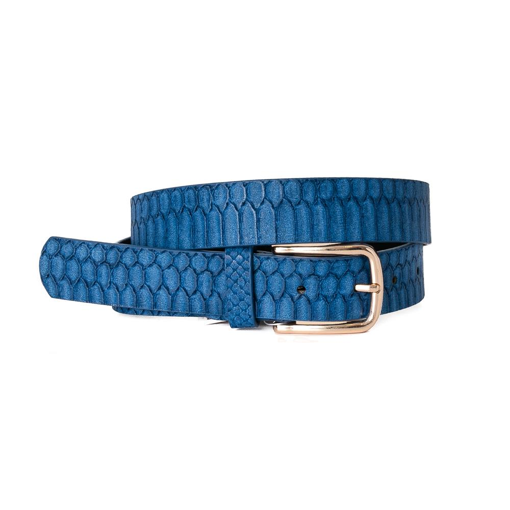 Belt, Croco Imm Belt Gold Buckle Navy