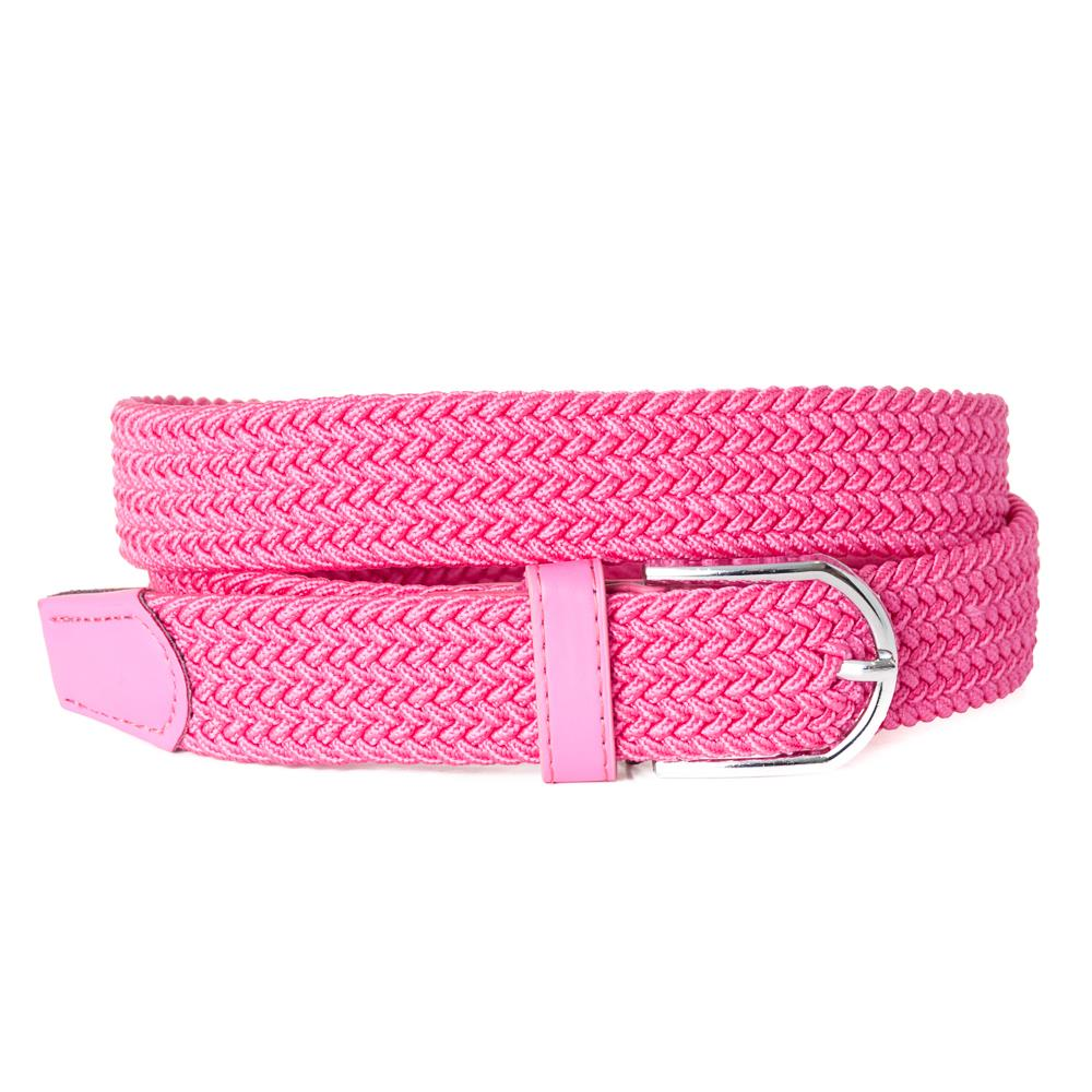 Belt, elastic braided pink