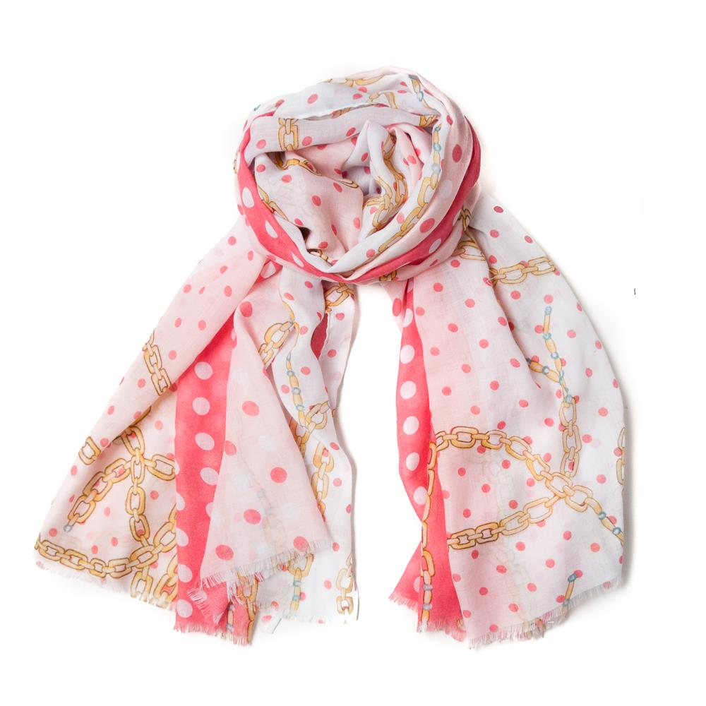 Scarf, chain print pink