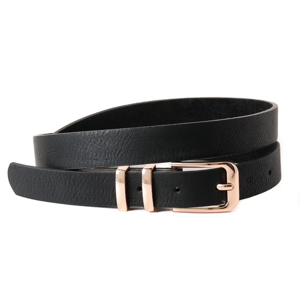 Belt, double loops gold, black