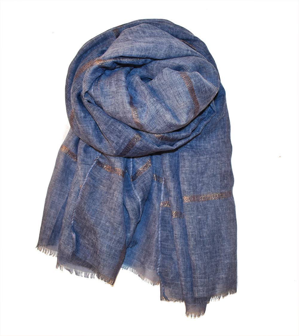 Scarf, Rose gold lurex stripes blue