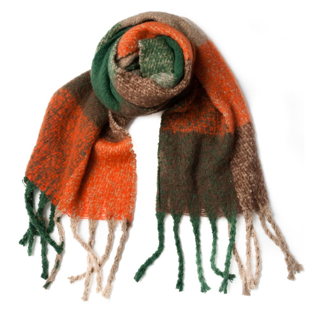 Scarf, fluffy acrylic big check pattern green/army/orange