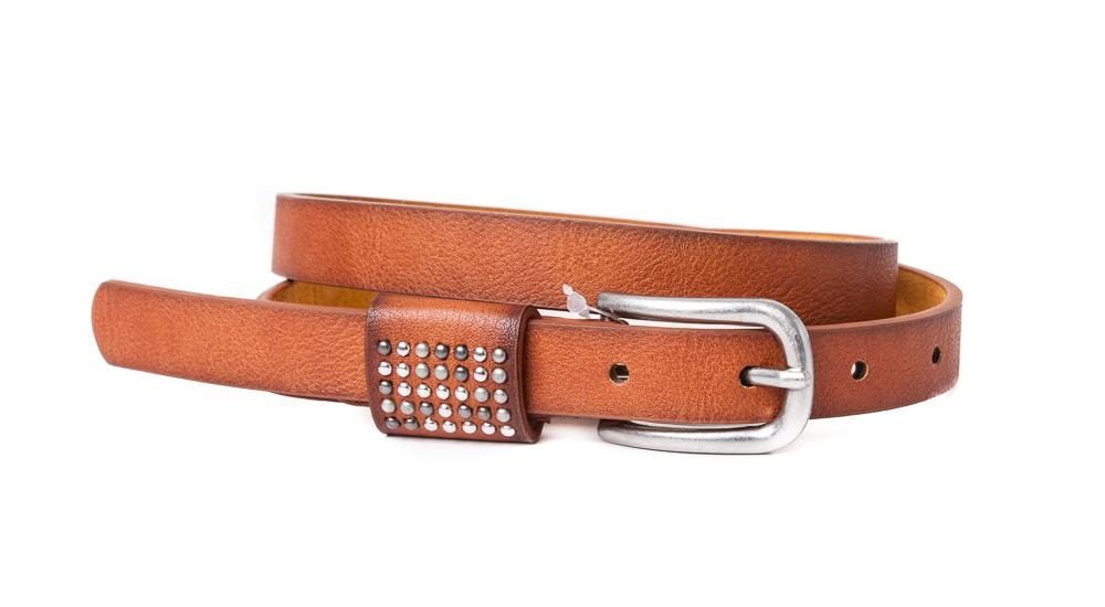 Belt, PU/Leather small rivets on loop cognac