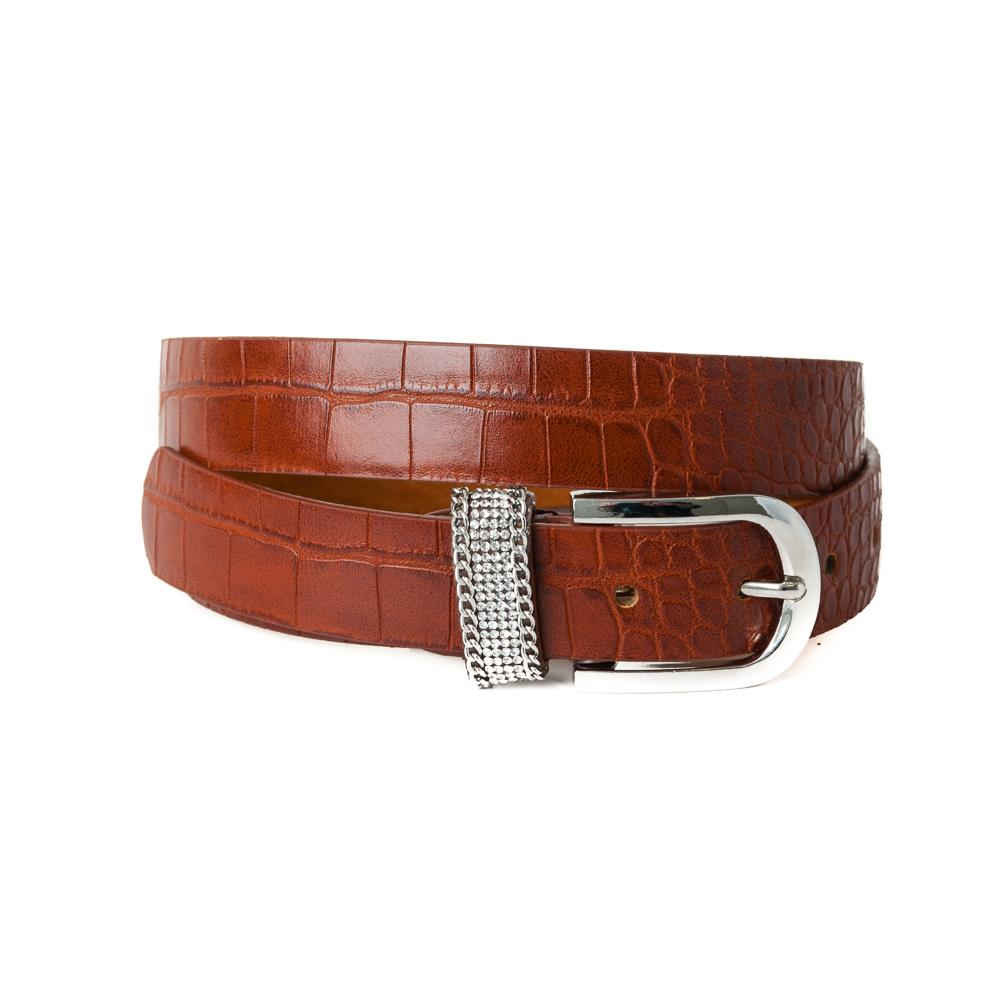 Belt, pu/leather croco strass loop cognac