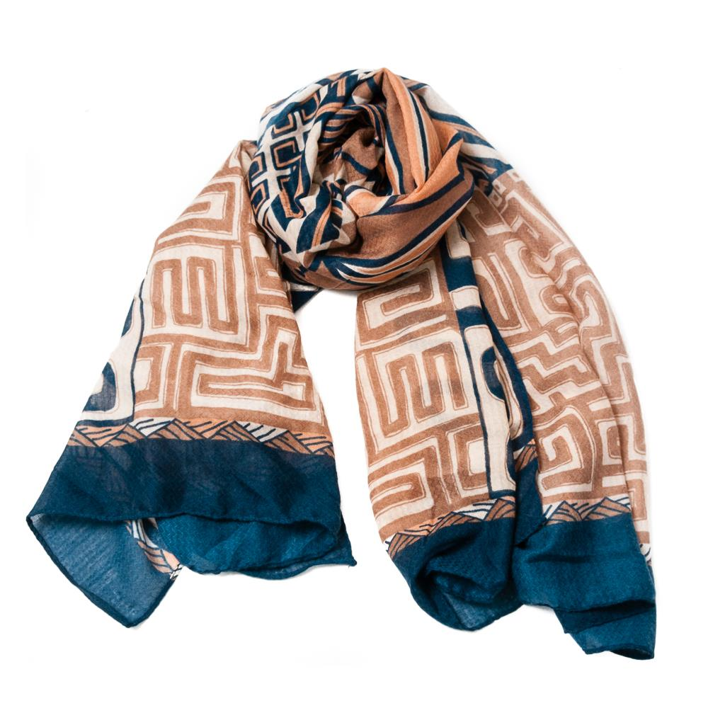 Scarf, Greek pattern blue