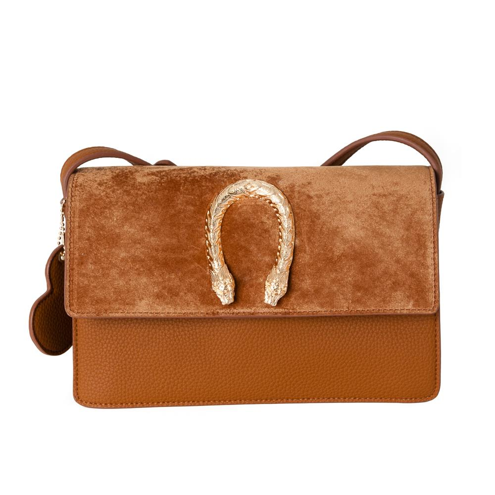 Bag, snake buckle clutch cognac
