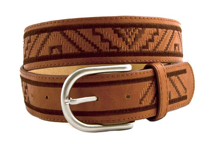 Belt, PU/leather w inka embroidery