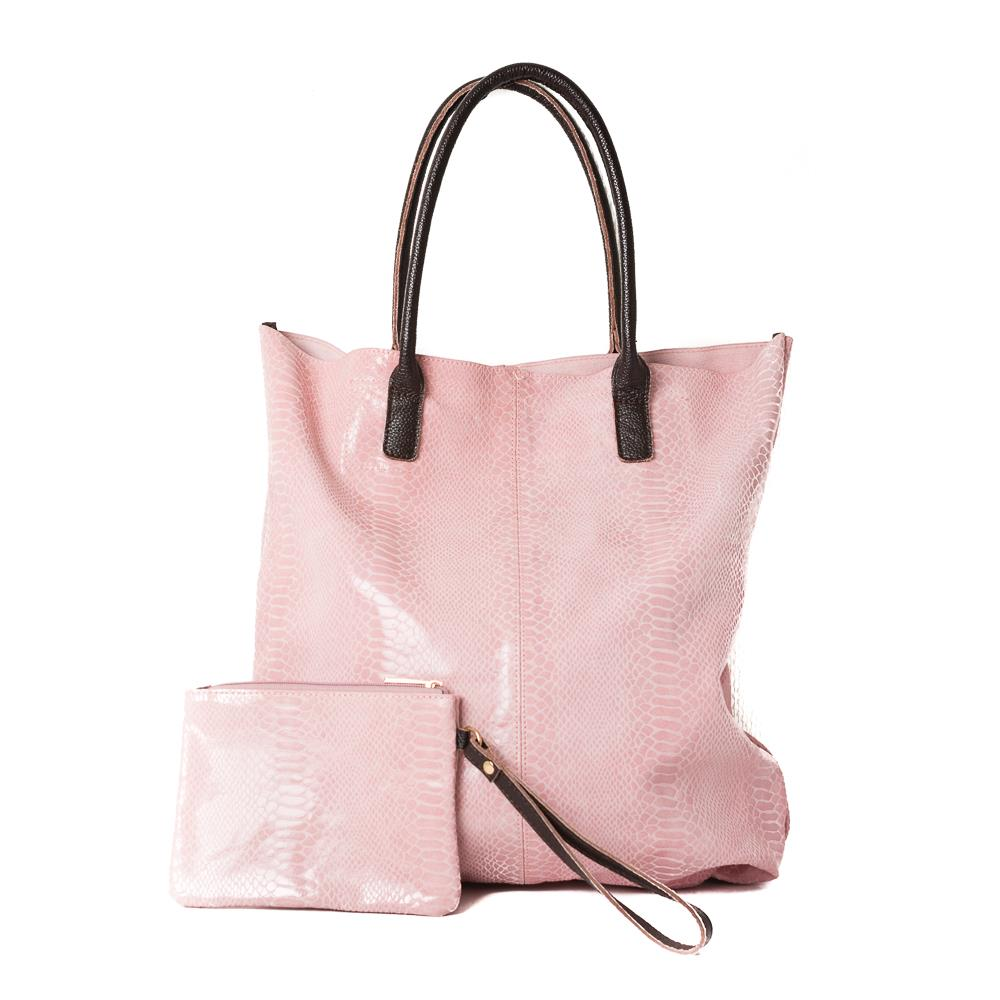 Bag, leather shopper with mini purse dusty pink