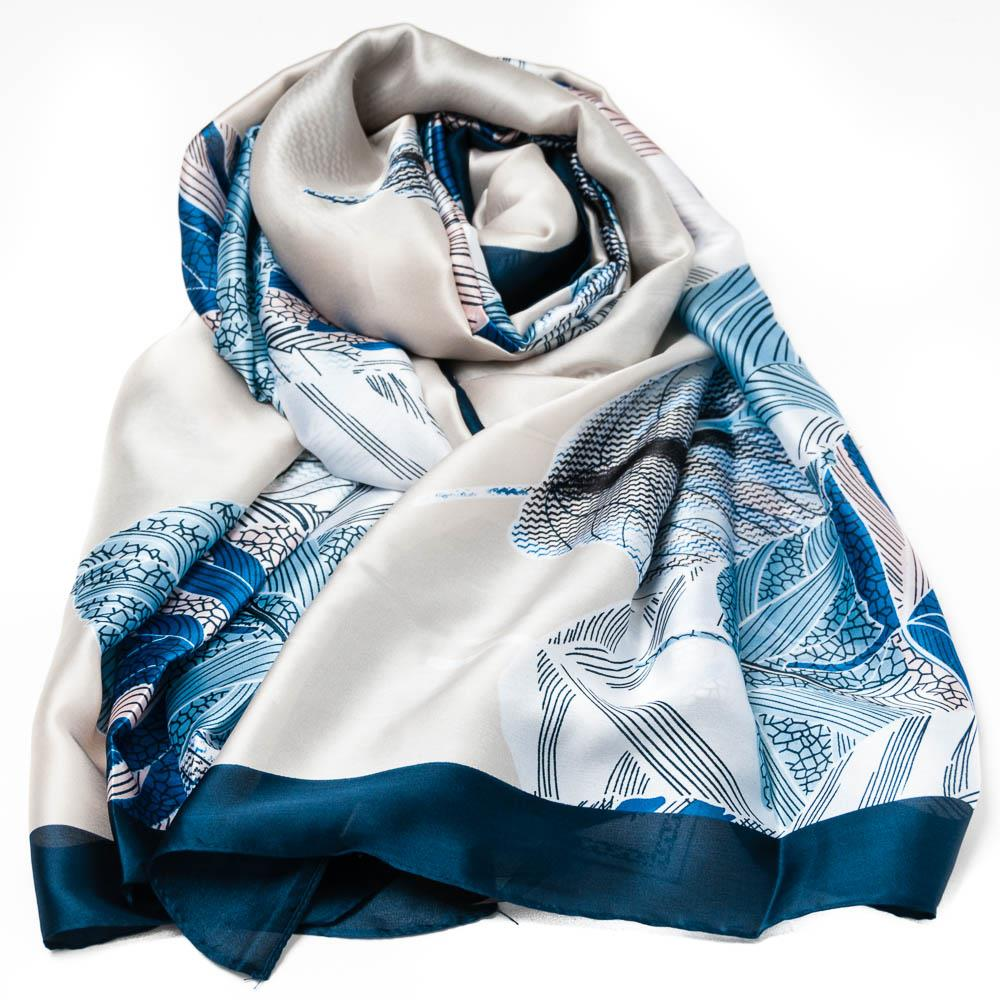 Scarf, Silk look feather print blue
