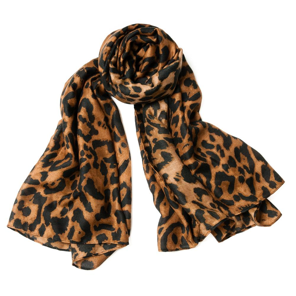 Scarf, Animalprinted brown