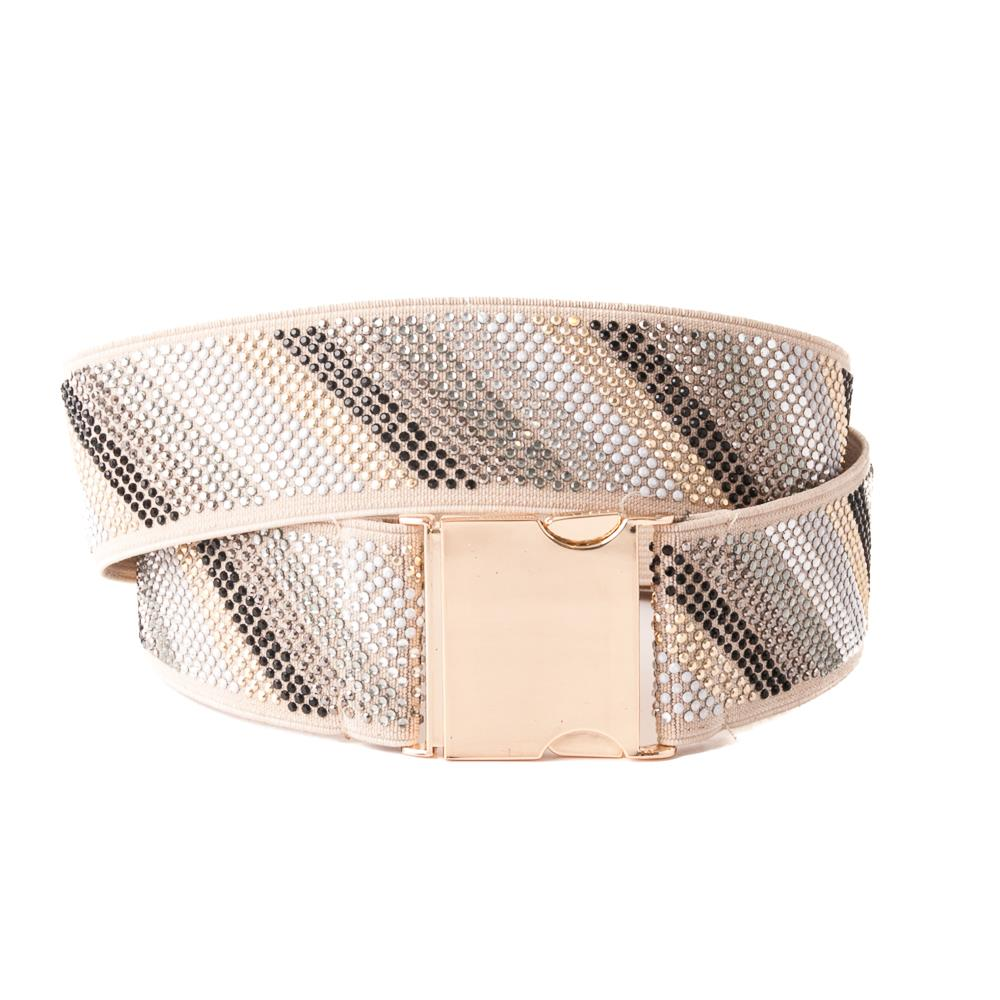Belt, Elastic ribbon with buckle and rivets gold