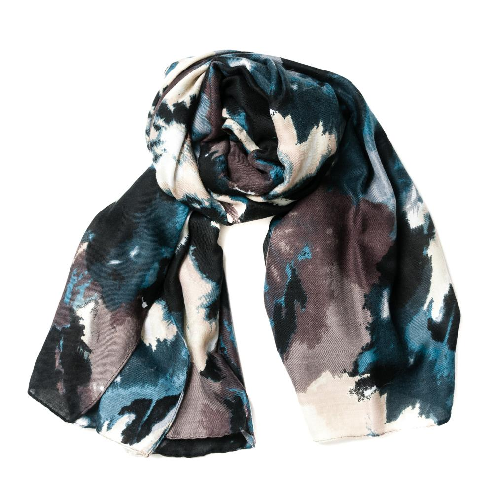 Scarf, faded multi pattern blue