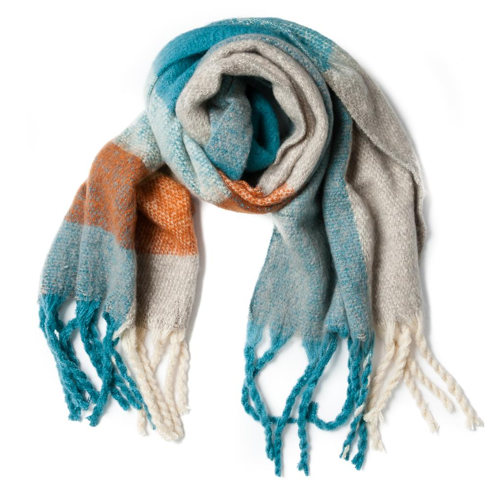 Scarf, fluffy acrylic check/stripe pattern lt blue/brick