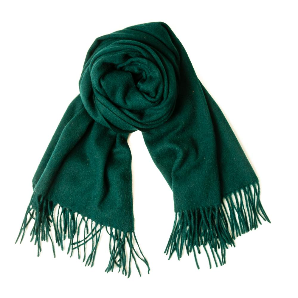 Scarf boiled wool scarf w fringes, Bottle green
