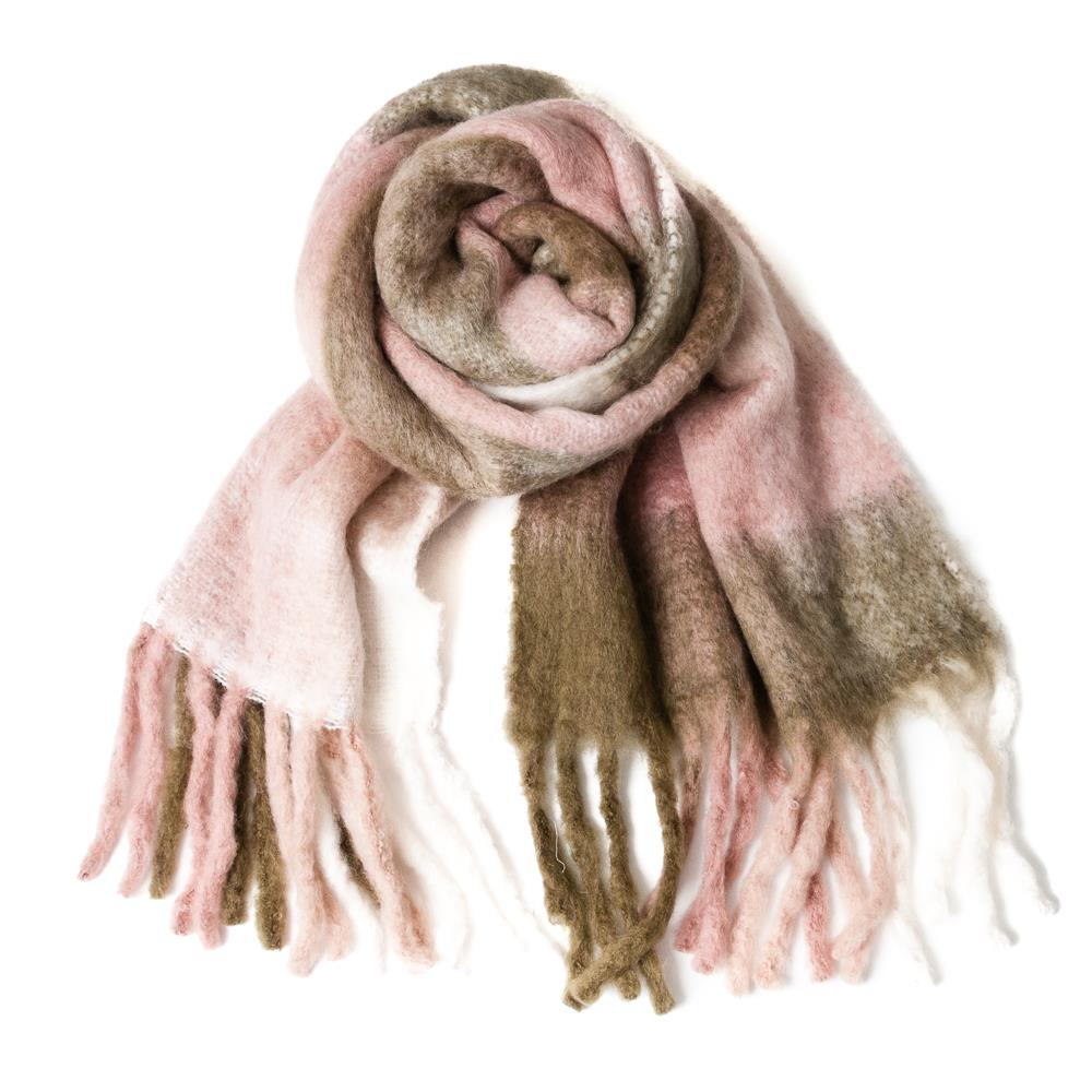 Scarf, check printed fluffy wool pink