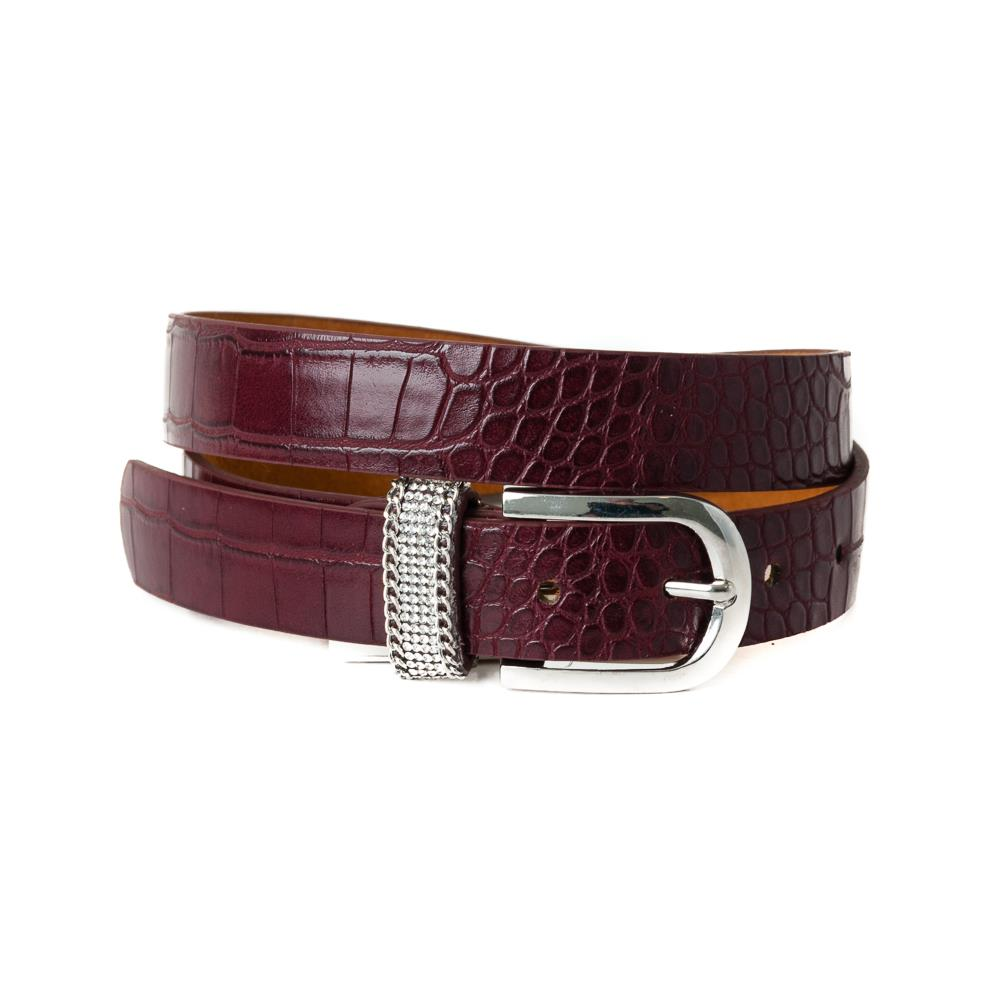 Belt, pu/leather croco strass loop bordeaux