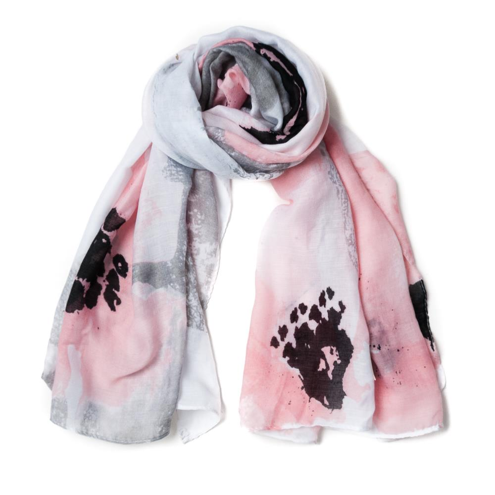 Scarf, big flower print pink