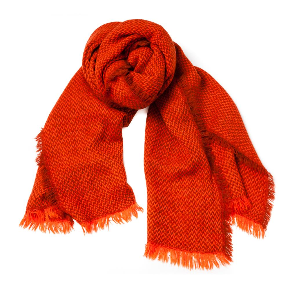 Scarf, woven ruff edges orange