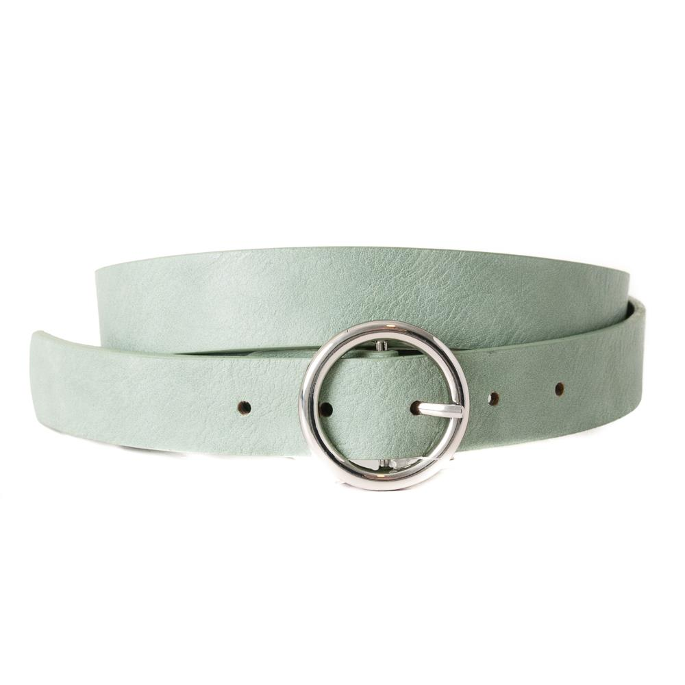 Belt, with sirkle buckle plain, silver buckle lt green
