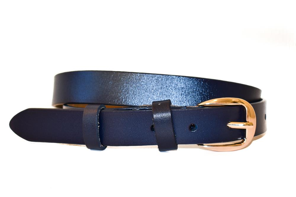 Belte PU/skinn gold colored buckle navy