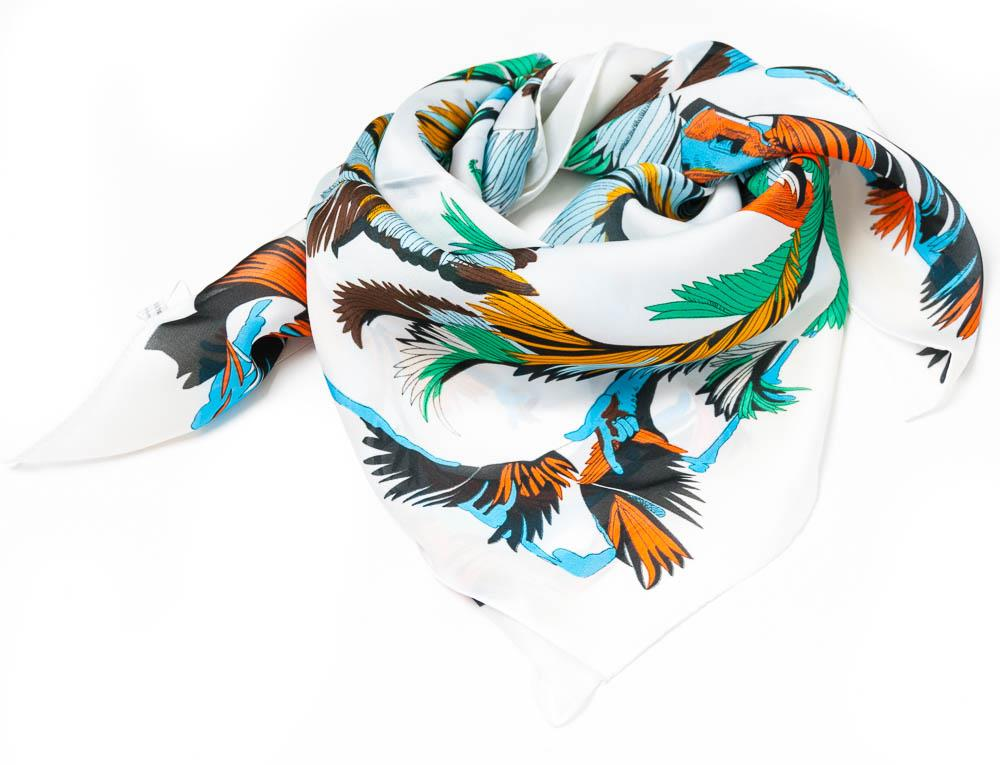 Scarf, small feather print white