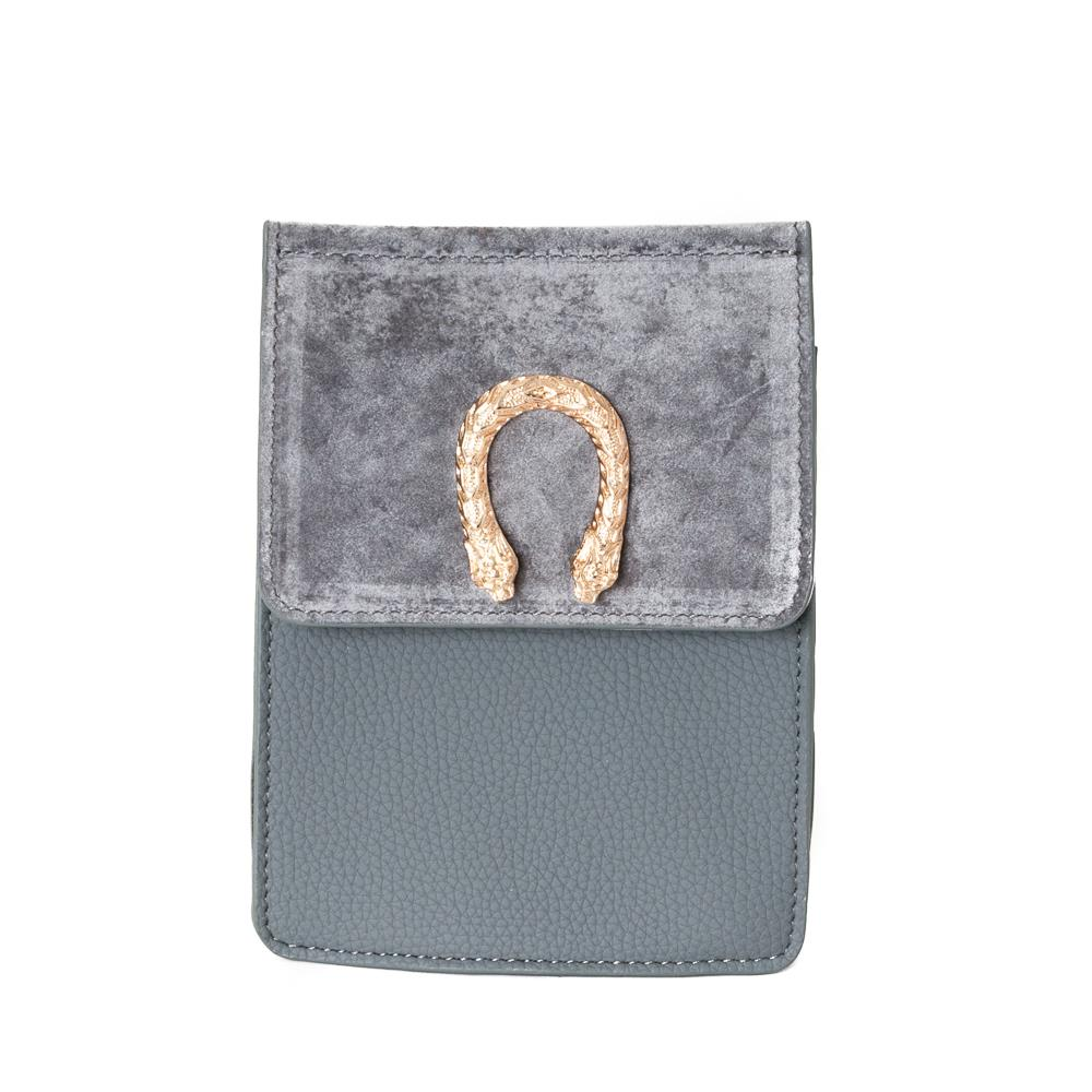 Bag, small snake buckle clutch grey