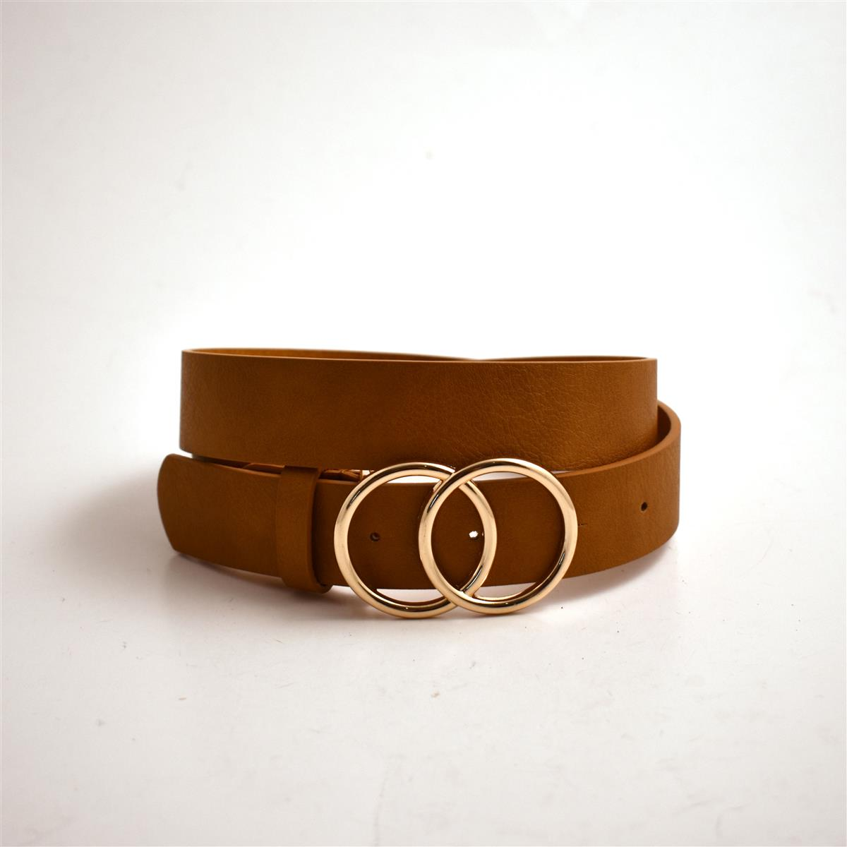 Belt, Double sirkle buckle, cognac