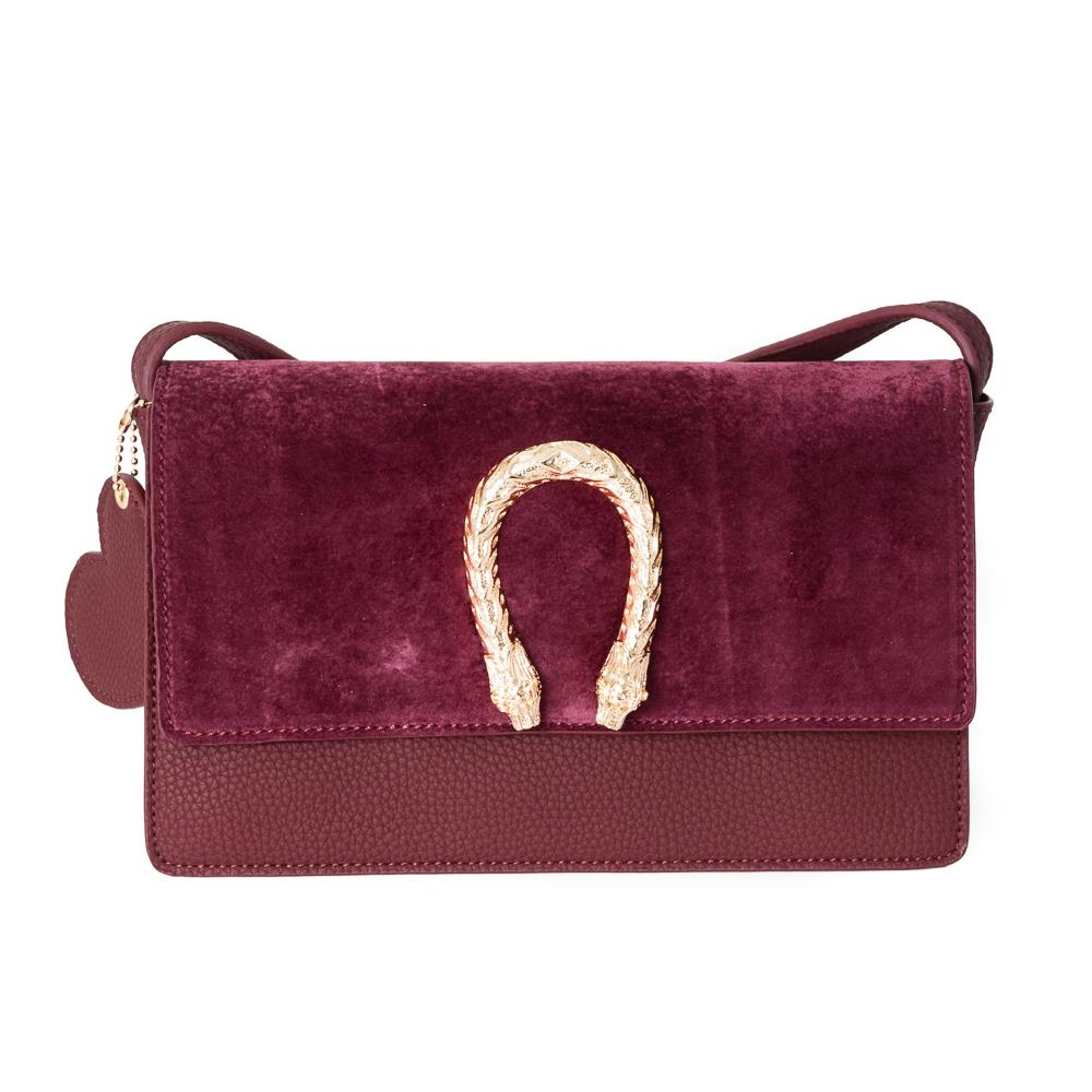 Bag, snake buckle clutch bordeaux
