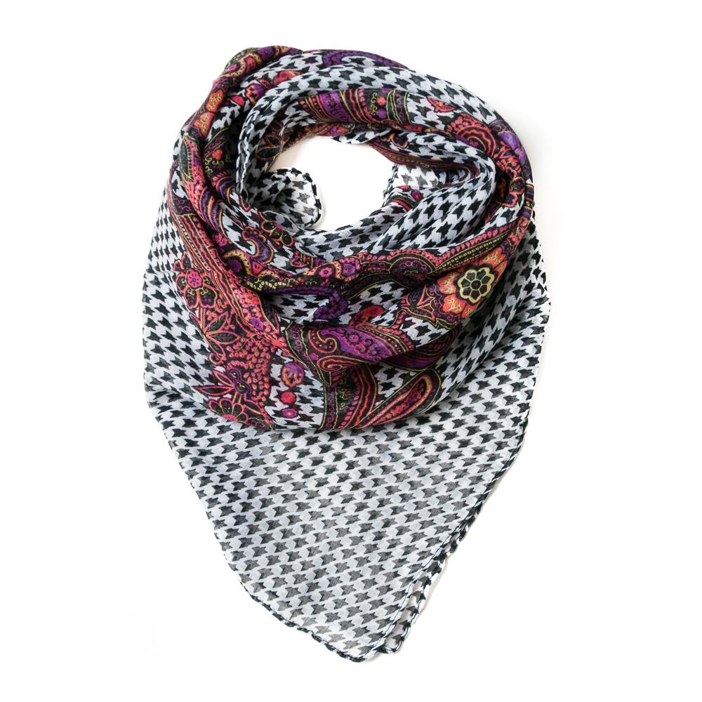 Scarf, Mini check print with paisley