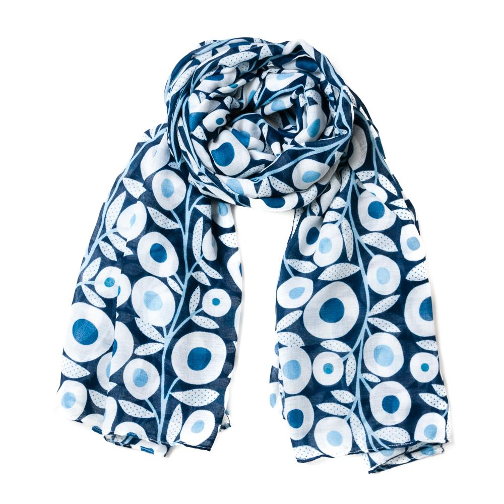 Scarf, retro flowerprint navy