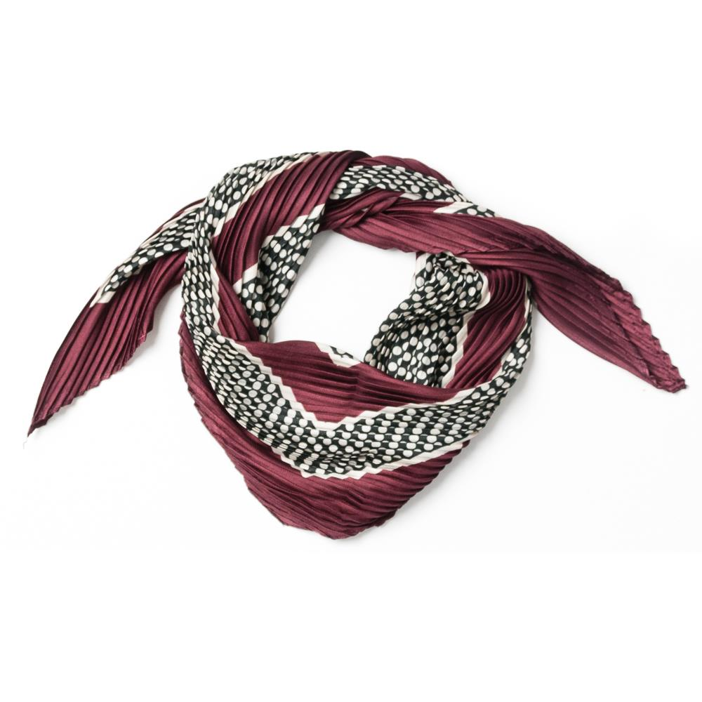 Scarf, small plizze black/white plum