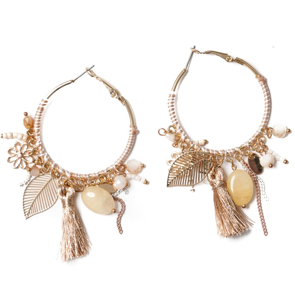 Earrings, feather beige