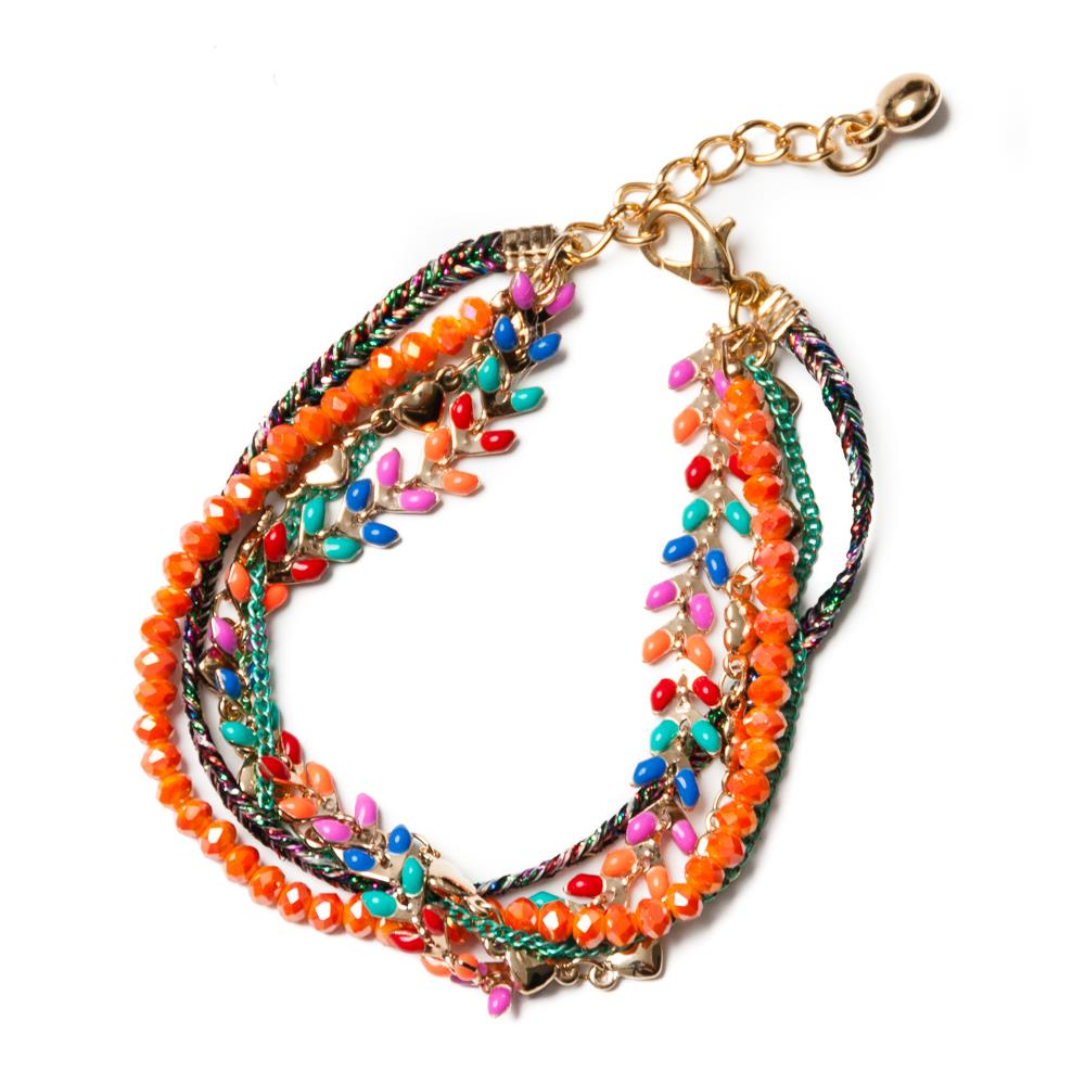 Bracelet, multichain and feather orange