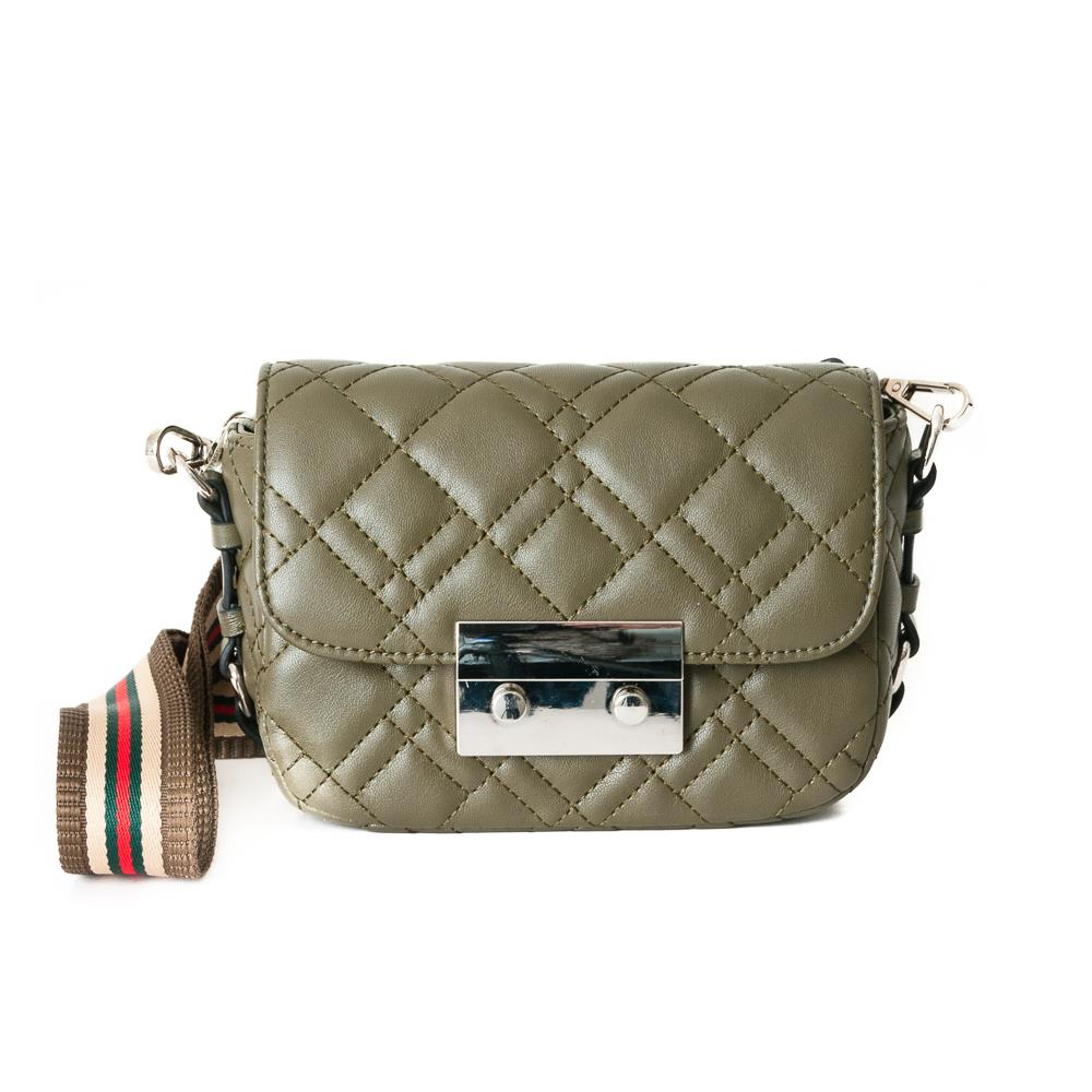 Bag, waffle stitches clutch army green