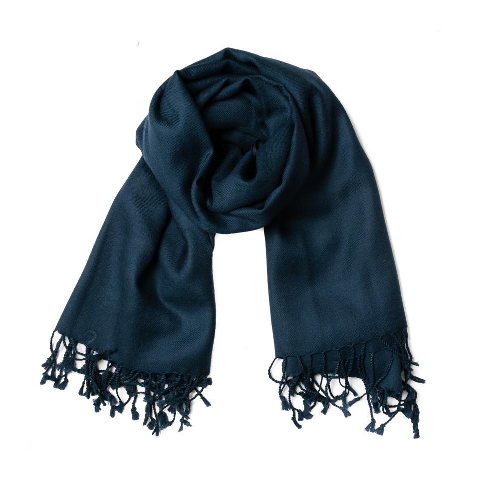 Scarf, wool with fringes navy