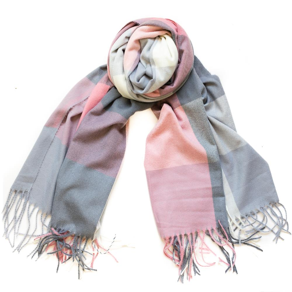 Scarf, Thin fluffy check pattern lt pink
