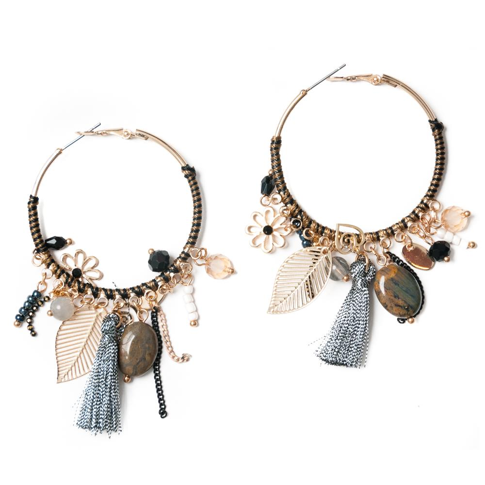 Earrings, feather grey