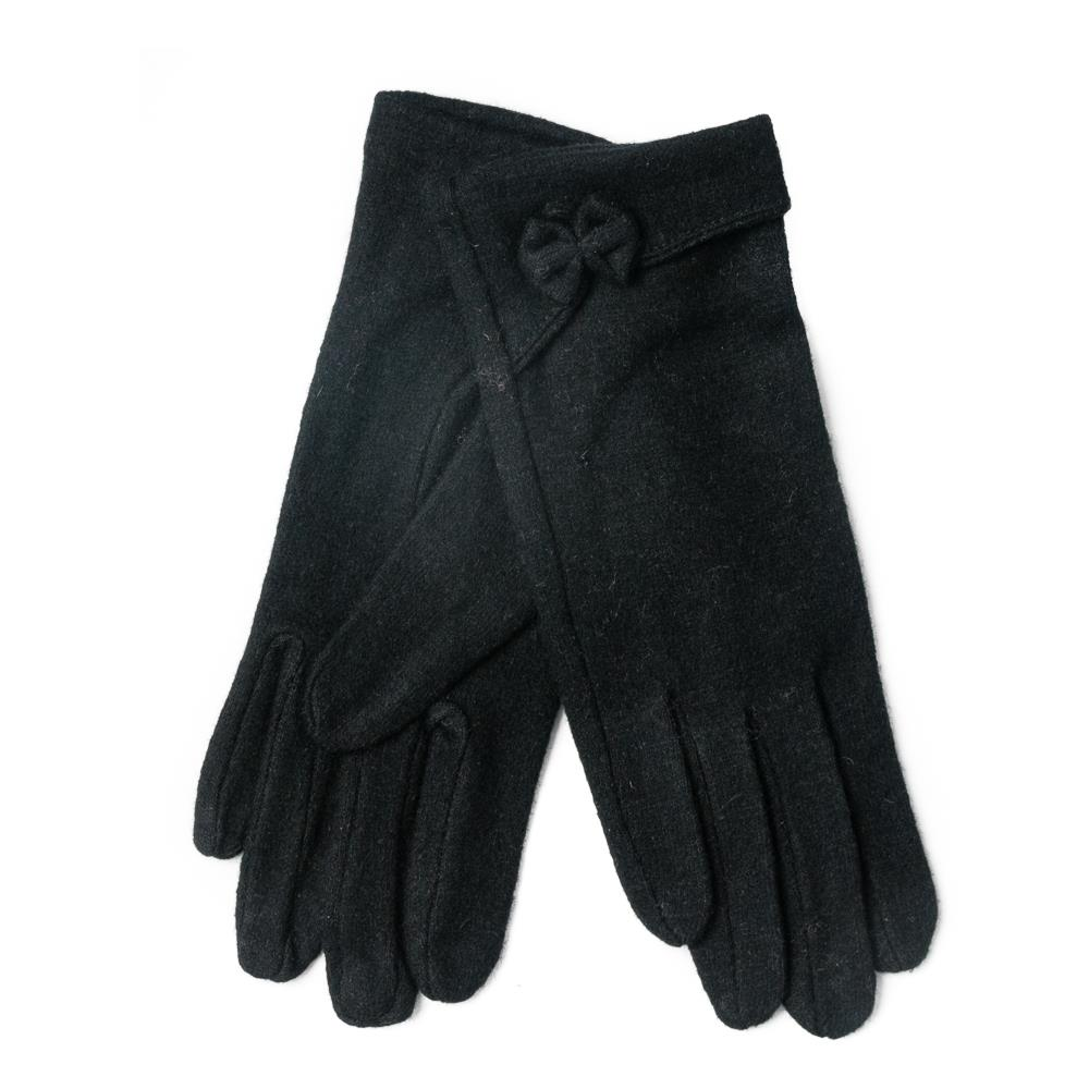 Gloves, wool with bowtie black