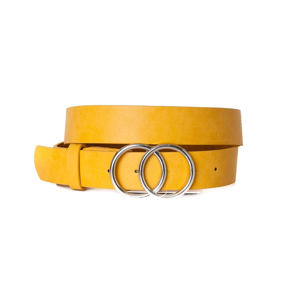 Belt, Doubble Ring Buckle Yellow Silver Buckle
