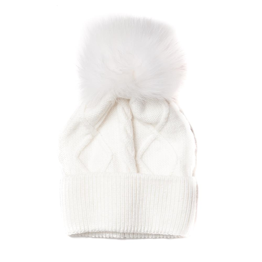Hat, knitted kabel, pull up edge offwhite