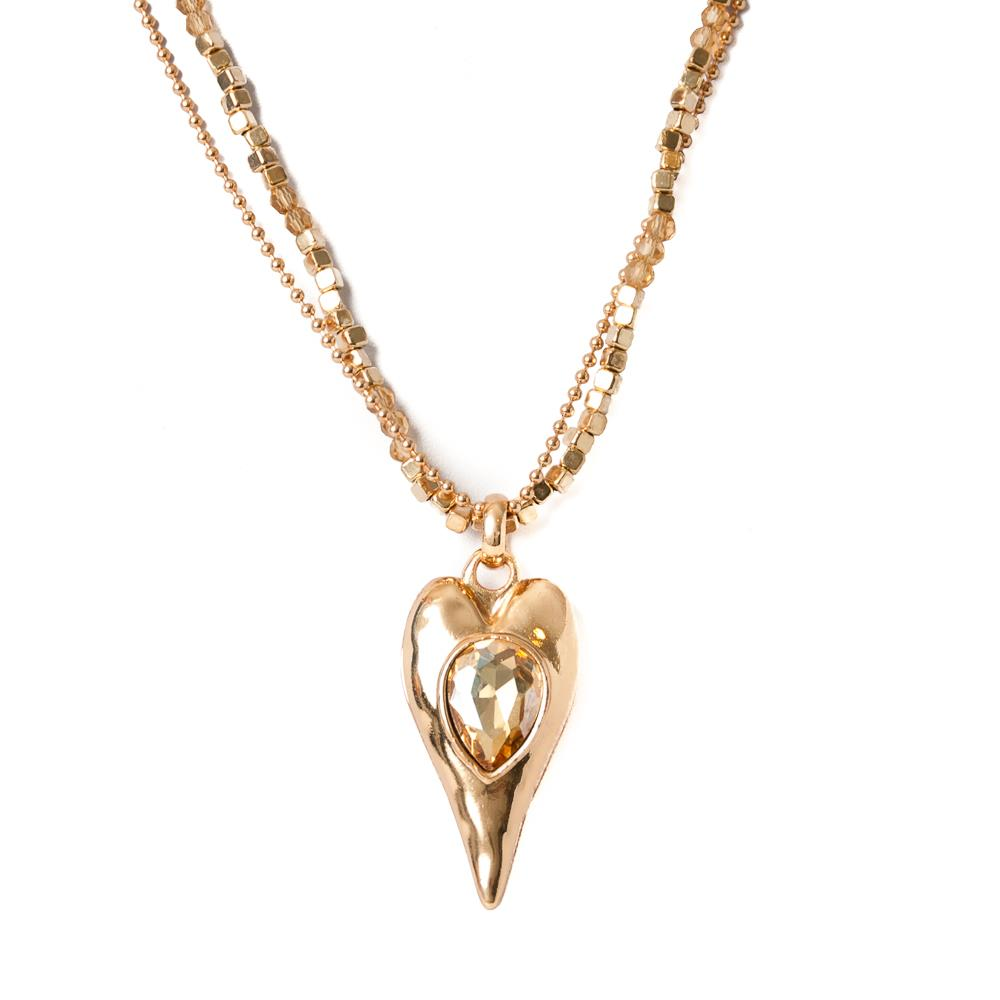 Necklace, double chain heart gold/champagne stones