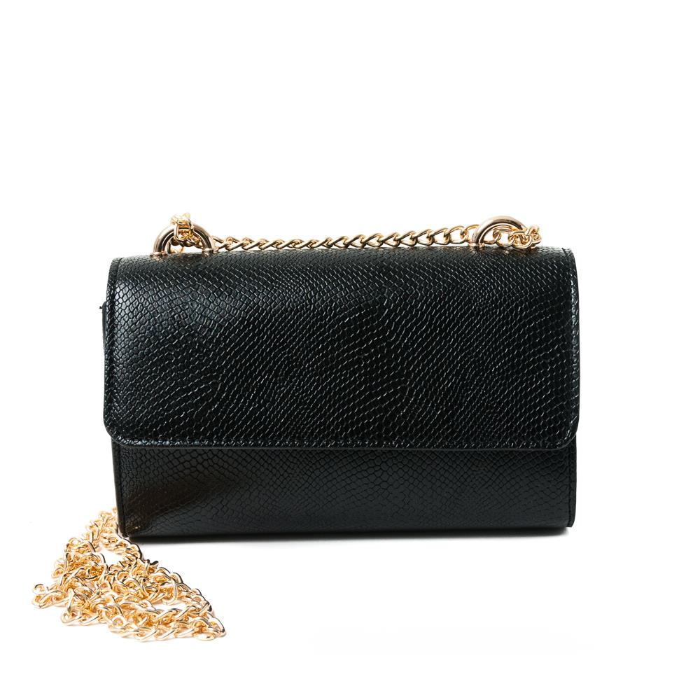 Bag, Party bag Snake with chain Black